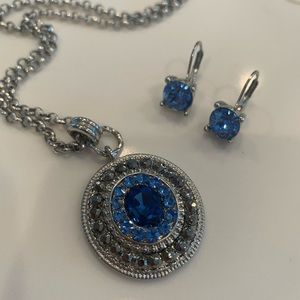 Jewelry - Silver Jeweled Necklace and Earring Set